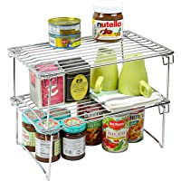 Callas Pack of 2 Stackable Kitchen Rack Cabinet Organizer Shelf, Utensils Holder, Dish Rack, Cutlery Rack, Chrome 81AA