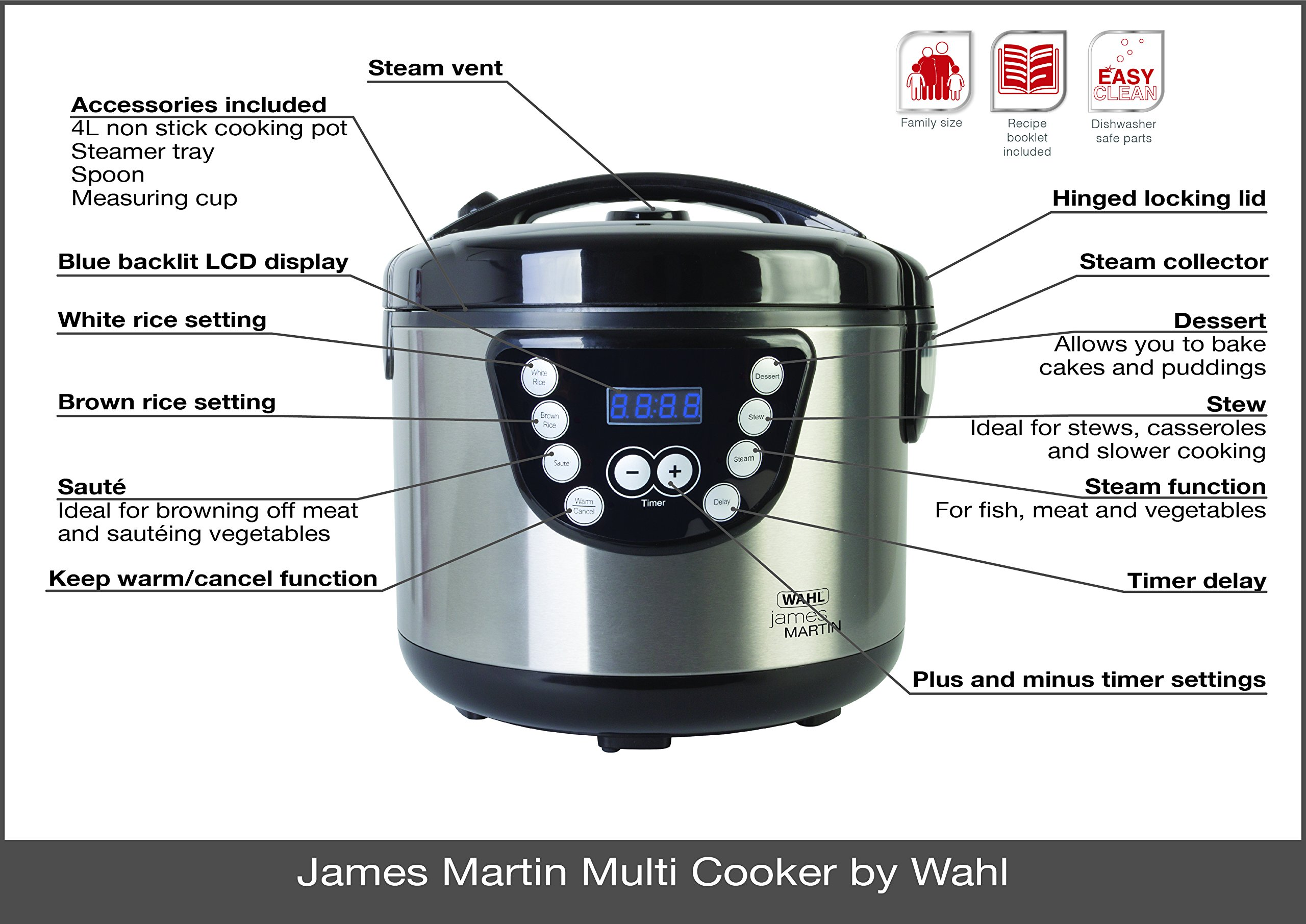 81CbnAQDd5L - Wahl ZX916 James Martin Multi Cooker, Steaming, Sautéing, Stewing, Cooking, 24 hrs delay timer, Family sized 4L Capacity…