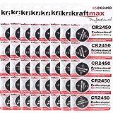kraftmax 40er Pack CR2450 Lithium Hochleistungs- Batterie / 3V CR 2450 Knopfzelle für professionelle Anwendungen - Neuste Gen