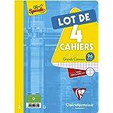 Clairefontaine 643361C Lot de 4 Cahiers Agrafés - 24x32 cm 96 Pages Grands Carreaux Papier Clairefontaine Blanc 90 g - Couver