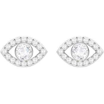 2635bfc2c Swarovski Luckily Evil Eye Pierced Earrings, White, Rhodium plating ...