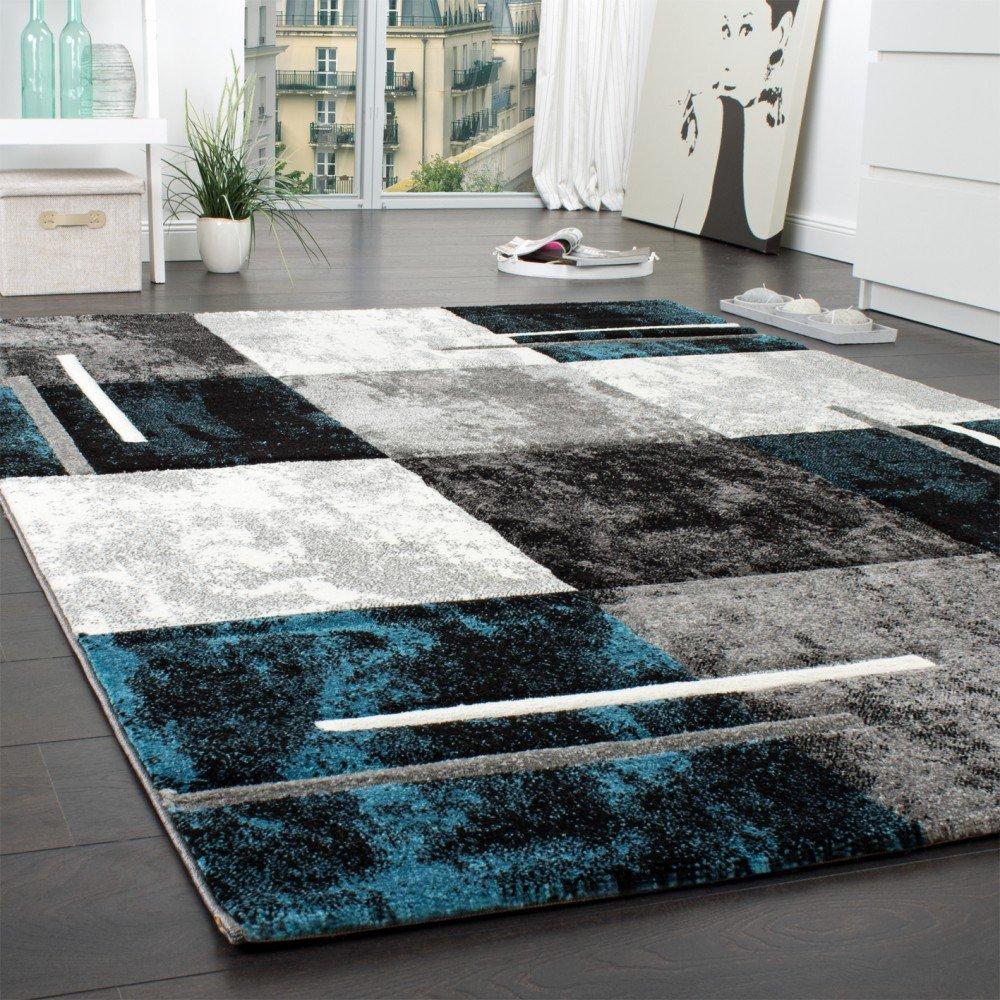 Designer Teppich Modern Mit Konturenschnitt Karo Muster Marmor Optik Grau Trkis Grsse160x230 Cm Amazonde Kche Haushalt