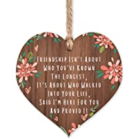 Friendship is not about who you've known the longest | best friends wooden hanging heart | sentimental inspirational…