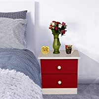 Santosha Decor Bedside Cabinet with 2 Drawers for Home (Red and White)
