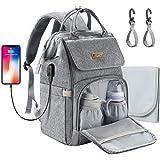 MCGMITT Baby Wickelrucksack Wickeltasche, Multifunktional Wasserdichte Babytasche mit USB-Lade Port, Wickelunterlage und…