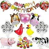 KATELUO Palloncini Compleanno Animali Fattoria, Festa di Compleanno Decorazioni, Happy Birthday Palloncini Banner per Ragazzo