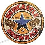 Circle Wooden Signs Mancave Vintage Retro Wood Bar Pub Wall Sign Diameter 19cm (Newcastle Brown Ale)