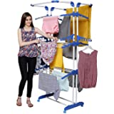 PARASNATH Steel 3 Poll Clothes Drying Stand with Breaking Wheel System (Blue)