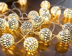 CozyHome LED Lichterkette marokkanische Kugeln Silber   6,8 Meter Gesamtlänge   20 warm-weiße LEDs - kein lästiges austauschen der Batterien   NICHT batteriebetrieben sondern mit Netzstecker
