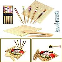 Horbax Kit Sushi 10 pezzi, Set Sushi in bambù, Tappetino per Arrotolare Il Sushi, Sushi Kit Include 2 Tappetini in bambù…
