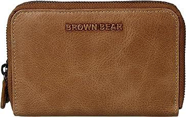 Brown Bear Damen Geldbörse Leder Braun Camel Vintage hochwertig Frauen Geldbeutel Portemonnaie Portmonee Portmonaise