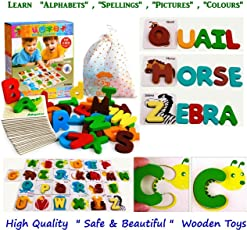 Happy GiftMart Kids and Infants Wooden 4 in 1 Toy Learn ABC Alphabet Animals Colours, Spelling Toddlers, 22x18x4cm (Multicolour) - Pack of 26