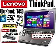 Notebook Ultrabook Lenovo ThinkPad T440 - Intel Core i5-8Gb RAM - 180Gb SSD - 14in IPS HD+ 1600x900 (Ricondizionato)
