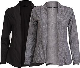 Ten on Ten Women's Carbon Grey/Black Full Sleeve Cotton Shrug
