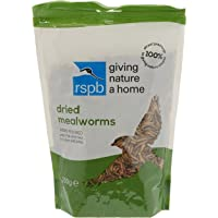 RSPB Dried Mealworms 200g Wild bird Food, supporting RSPB Charity, meal worm, Re-sealable & recyclable pouches, for use in Garden & outdoors. Perfect for Feeders, ground feeders & bird tables
