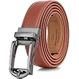 Marino's Mens Genuine Leather Ratchet Dress Belt with Open Linxx Buckle
