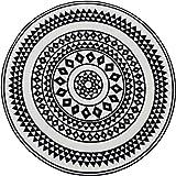 NAZAR UTO114N Tapis de salon rond à imitation carreaux de ciment, Noir et blanc - 100x100cm