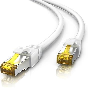 30m Ethernet Câble CAT 7 | Gigabit LAN Réseau 10Gbps | 2x fiches RJ45 | S/FTP Blindage | PC / Switch / Router / Modem / TV Box / Boîtiers ADSL / Consoles de Jeux Vidéo | Blanc