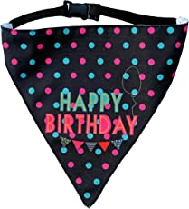 Happy Birthday! Dog Bandana by Lana, Quirky & Cool Dog Fashion Accessory with Easy to use Adjustable Strap