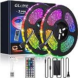 Striscia LED 10M (2x5M) Striscia LED GLIME 300 LED 5050 RGB,6 modalità 20 colori multicolore flessibile può tagliare nastri d