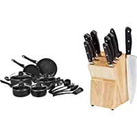 AmazonBasics 15-Piece Non-Stick Cookware Set & Premium Stainless Steel Knife Set with Block, 9-Pieces (8 Knives and 1 Wooden Block), B Combo