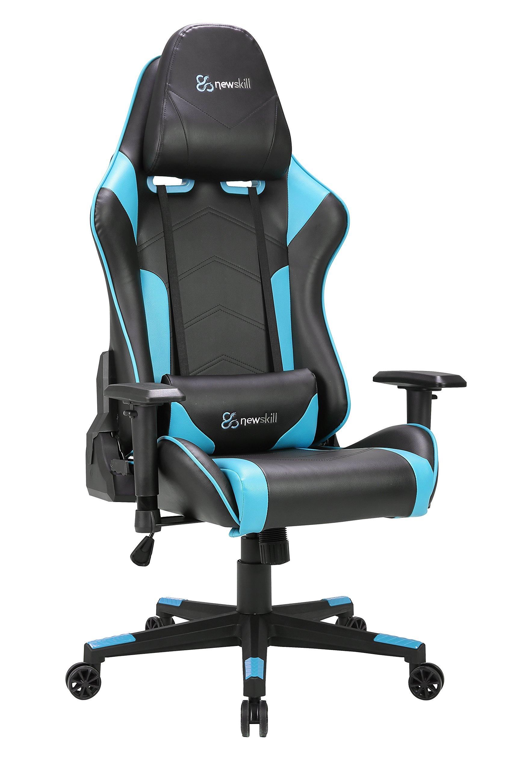 Newskill Kitsune – Silla gaming profesional (Inclinación y altura regulable, reposabrazos 2D ajustables, base en nylon, reclinable 180º), Color Azul