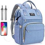 Baby skötväska ryggsäck, blöjväska ryggsäck med USB-laddningsport, blöjväska ryggsäck med isolerade fickor barnvagns-remmar