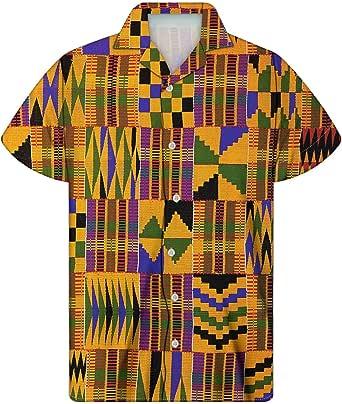 chaqlin Hawaiian Shirt for Men Funky Casual Button Down Shortsleeve Fashion Beach Holiday Loose Tops