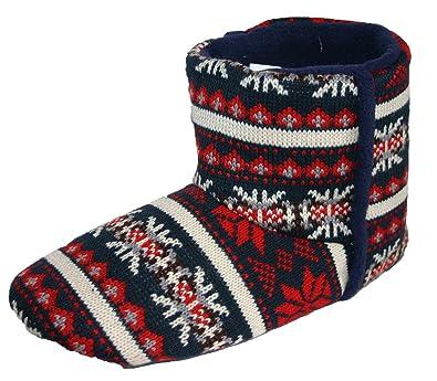 Dunlop Men's Navy Fairisle Pattern Boot Slippers: Amazon.co.uk ...