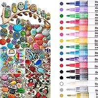 Beager Marqueurs Peinture Acrylique, 16 couleurs stylos imperméables marqueurs permanents stylos de peinture acrylique…