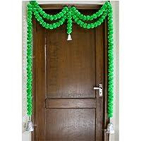 SPHINX Artificial Marigold Fluffy Flowers Garlands Door Toran /door Hangings (Green, 1 Piece)