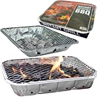 Quick And Easy Barbecue Instant Disposable BBQ - Ready To Cook In 15 Minutes - Mini BBQ Grill - Includes Tray, Charcoal, Lighting Paper and Wire Stand - Great for Meat, Fish and Veggies (1)