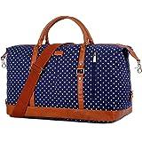 BAOSHA Canvas Groß Reisetasche Segeltuch Handgepäck Travel Duffel Carry On Bag Weekender Tasche for Damen & Frauen HB-14 (Bla