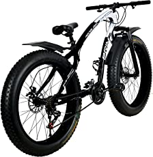 R Cycles Fat Tyre (Fat Boy) Prime Adventure Sports Mtb Cycle With 21 Shimano Gears Black White