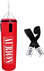 Aurion Synthetic Hard Punching / Boxing Bag, 48 Inches (Filled) With Hand Wrap