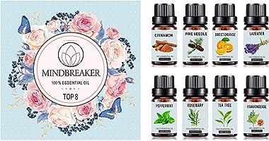 Set di oli essenziali di aromaterapia biologica - TOP8 All Oil Diffuser, incenso, lavanda, tea tree, arancia dolce,...