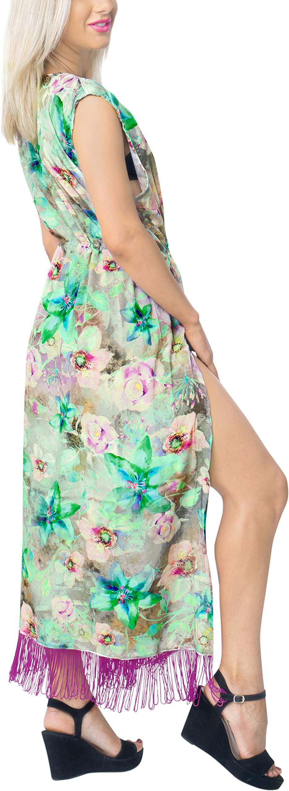 LA LEELA Seta Kimono Cardigan Lungo Donna Estivo Pizzo Boho Copricostume Abito da Mare Spiaggia per Costumi da Bagno… 3 spesavip