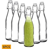 Amisglass Flip Top Glass Bottle, 6-Pieces Classic Swing Top Glass Bottles with Lids, 600 ML Clear Glass Veer Bottles for Beverages, Oil, Vinegar, Beer, Water, Soda, Kefir and Second Fermentation