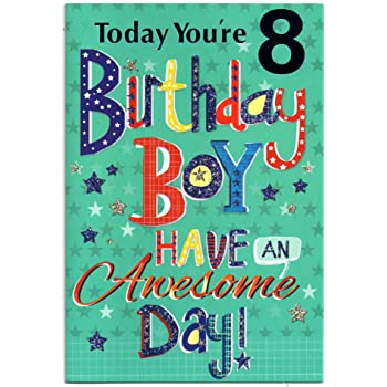 Childrens Birthday Card For Eight 8 Year Old Boy