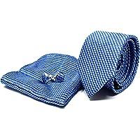 Oxford Collection Cravatta da uomo, Fazzoletto da Taschino e Gemelli Blu a Righe - 100% seta - Classico, Elegante e…