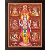 Art n Store: Lord Vishnu with Various God HD Printed Religious & Decor Poster Painting with Brown Frame (30 X 23.5 X 1.5 cm_