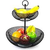 mossFlos Corbeille à Fruit à 2 Étages, Panier de Fruit - Installation Facile - Noir