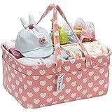 Hinwo - Cesta para pañales de bebé, 3 compartimentos, organizador portátil para el coche, cesta de regalo para recién nacidos