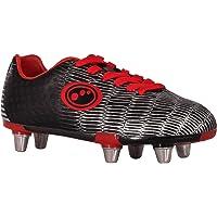 Optimum Junior Viper Senior Rugby Boots, Black/Silver/Red, Size 5