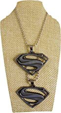 eshoppee Designer Antique Silver Look Dual Double Superman Locket Pendant with Chain Necklace for Man and Women, Boys and Girls Dog tag. (Antique nk 13)