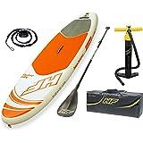 Bestway 65302 - Tabla Paddle Surf Hinchable Hydro-Force Aqua Journey Bestway (274x76x12 cm) con remo de aluminio, inflador, y
