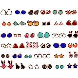 KOOCHI KOO Multicolour Metal 36 Pair Stylish Earring Stud Combo Set with Heart Shape Box for Women