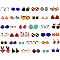 KOOCHI KOO Multicolour Base Metal Earring Stud Combo Set for Women- 36 Pair with Heart Shape Box