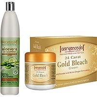 Aryanveda 24 Carat Gold Bleach Cream 450 g And Aloevera & Cucumber Hydra Body Moisturizing Lotion, 1000 mL