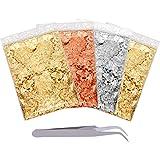 BQTQ 20g 4 Paquets Flocons de Feuilles d'or Imitation Feuille d'Imitation d'or/d'argent/d'or Rose pour Dorure Imitation Floco